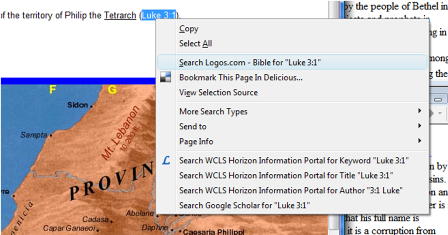 Bible.Logos.com plugin: context menu